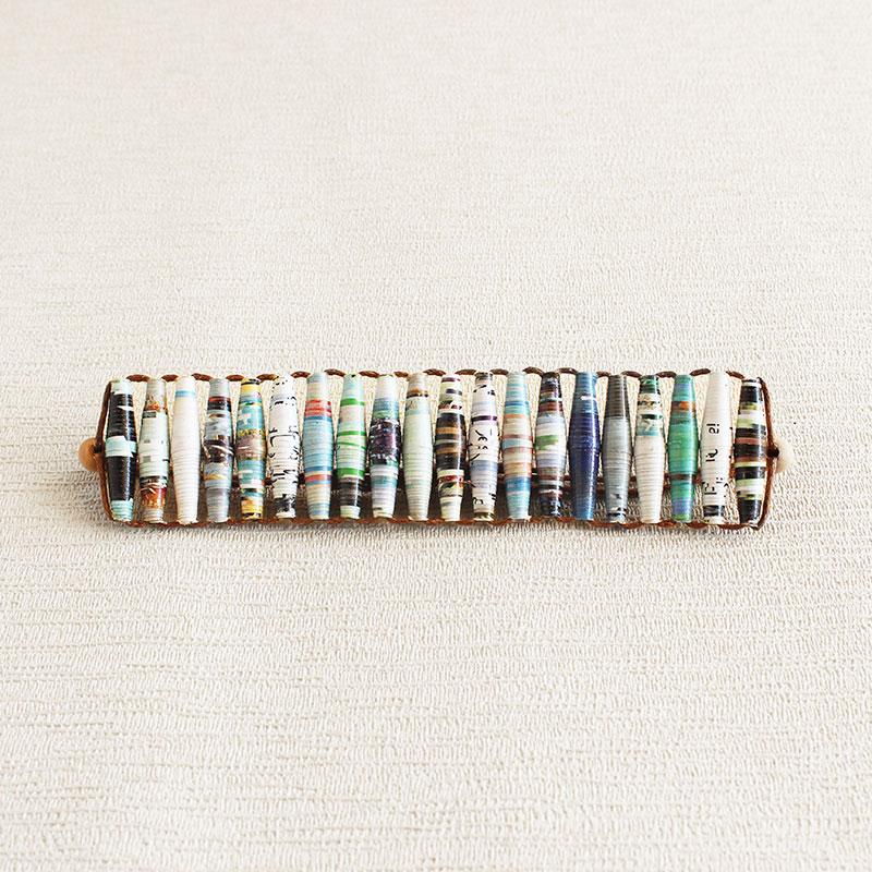 Travel Magazine paper Bracelet Blue brown beaded bracelet