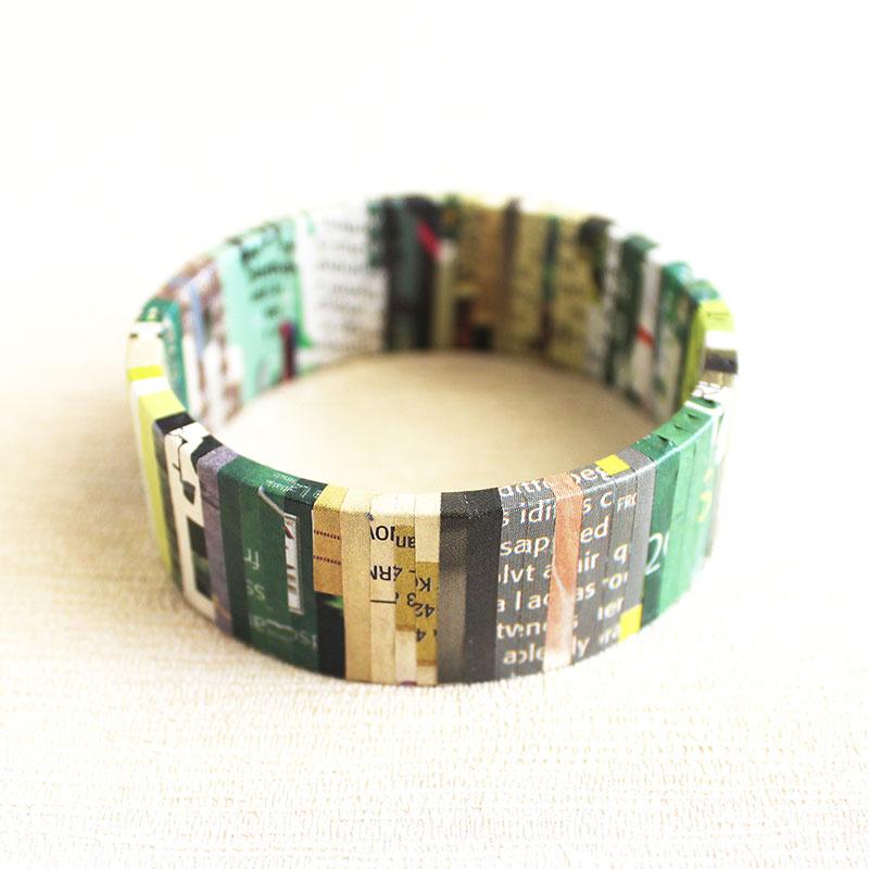 earth friendly jewelry green newspaper bracelet
