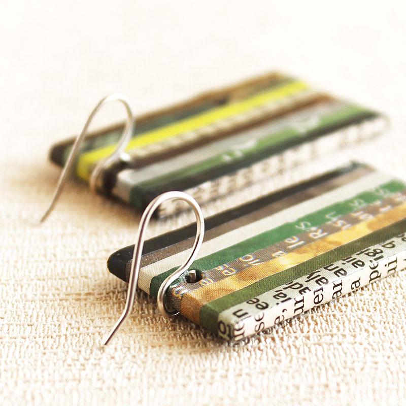 newspaper earrings green jewelry