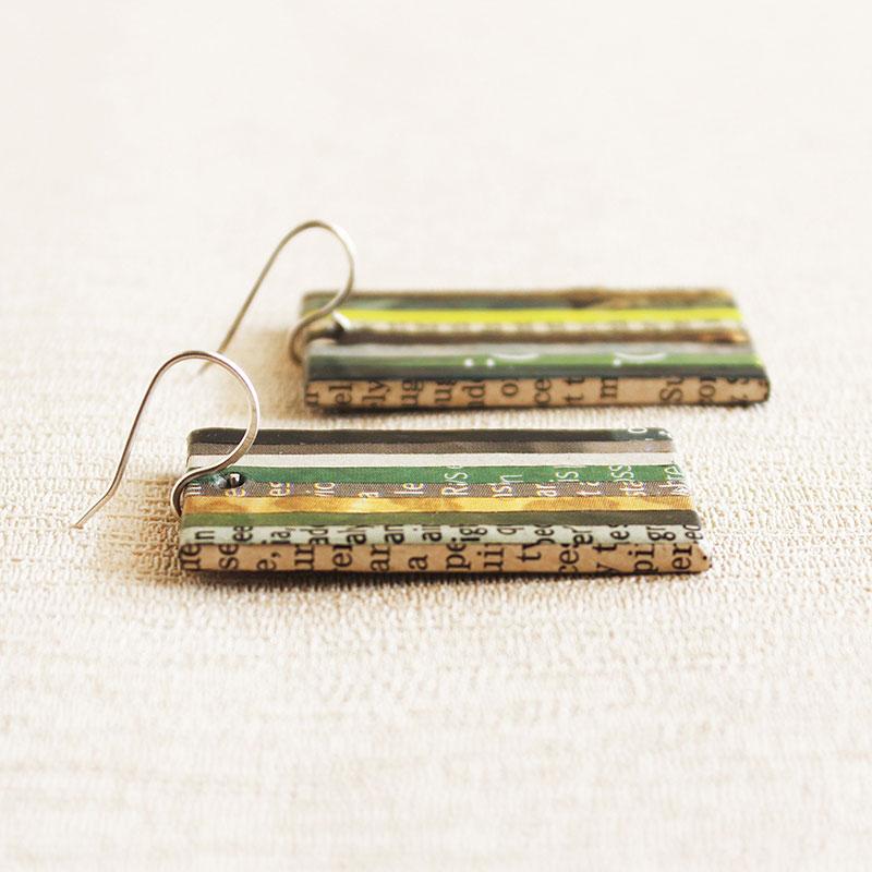green gift newspaper earrings