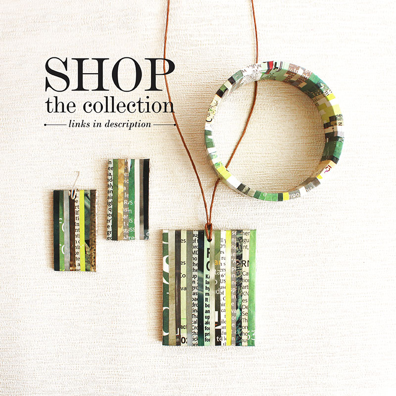 green newspaper jewelry collection