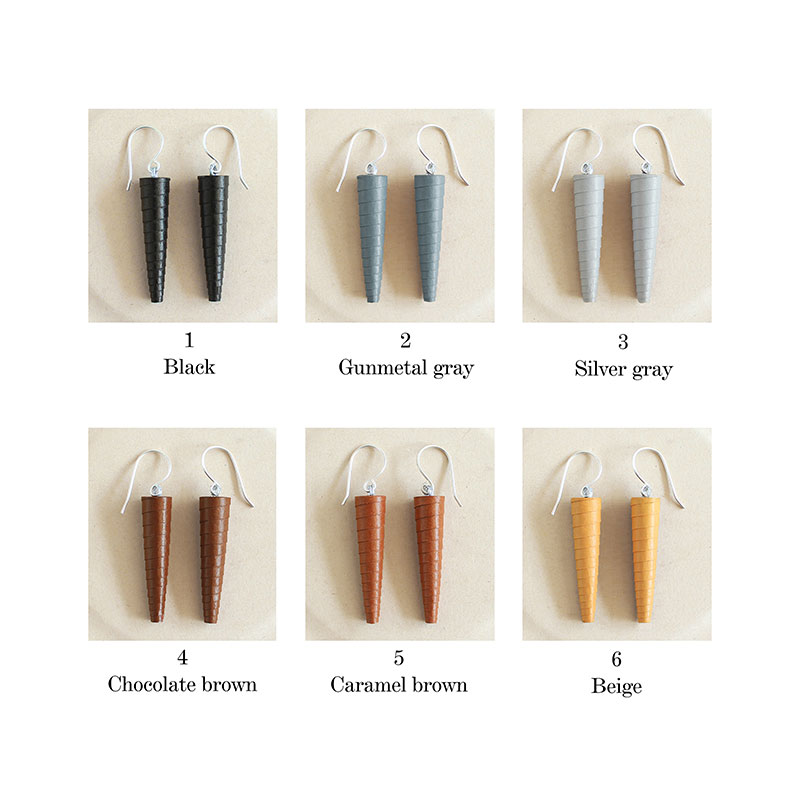 solid color earrings set 5 brown shades