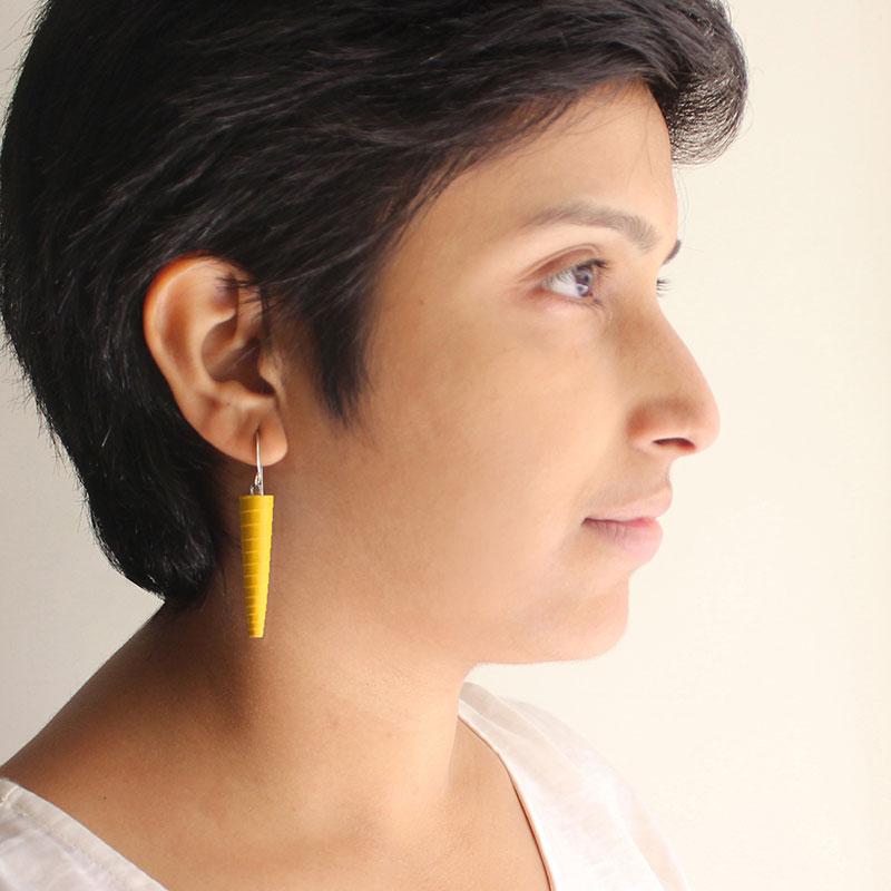 Bright yellow beaded dangle earrings