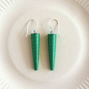 Emerald Green Dark Green Statement Earrings