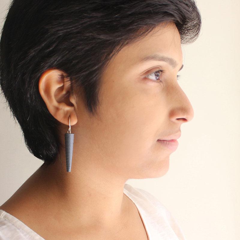 dark grey statement earrings