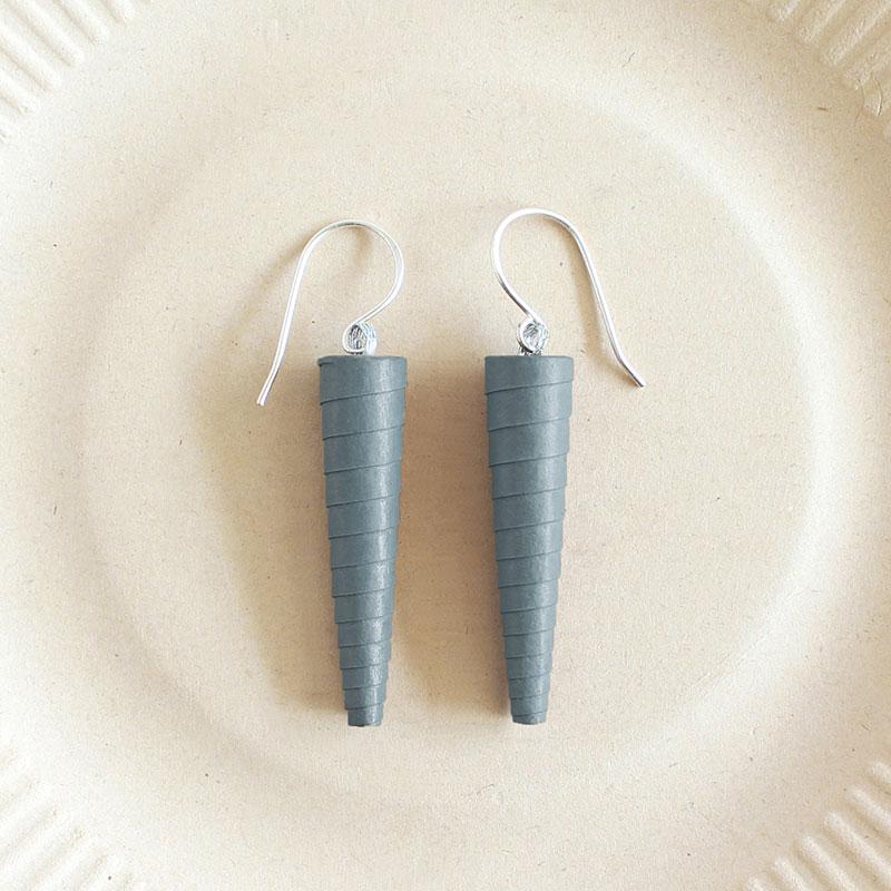 Gunmetal Grey Dark Gray Charcoal Statement dangle earrings