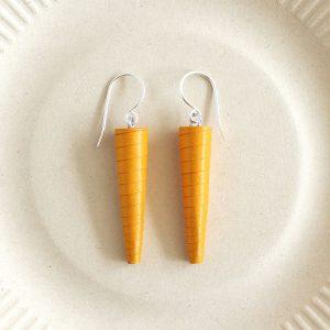 Long Mustard Yellow Statement Dangle Earrings