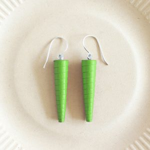 parrot green bright green long drop earrings