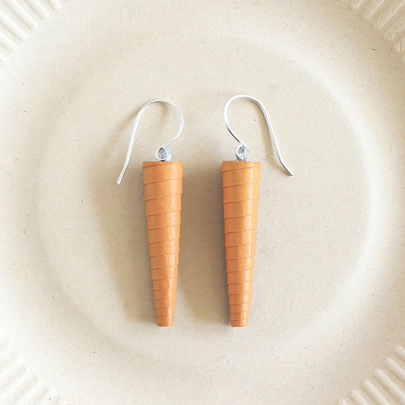 Peach paper bead dangle earrings