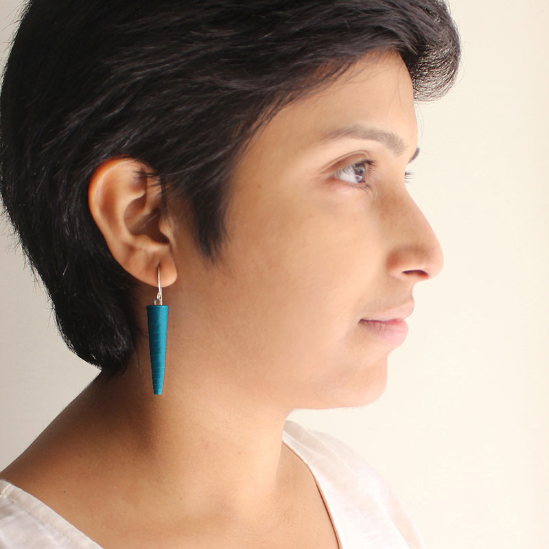 Peacock blue drop earrings in blue green shade
