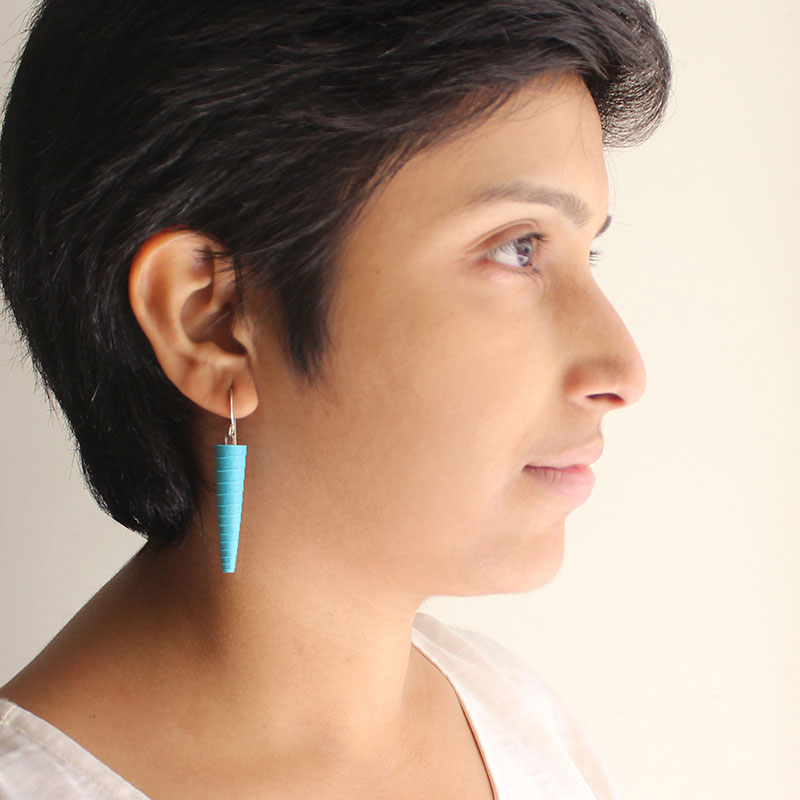 Long dangle earrings in turquoise blue
