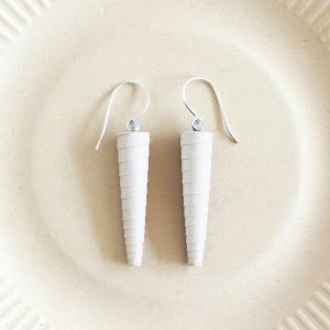 White Statement Earrings Long Dangle Drop Earring