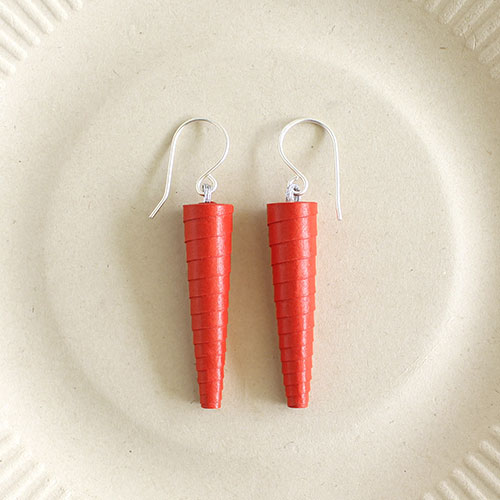 Bright red summer earrings