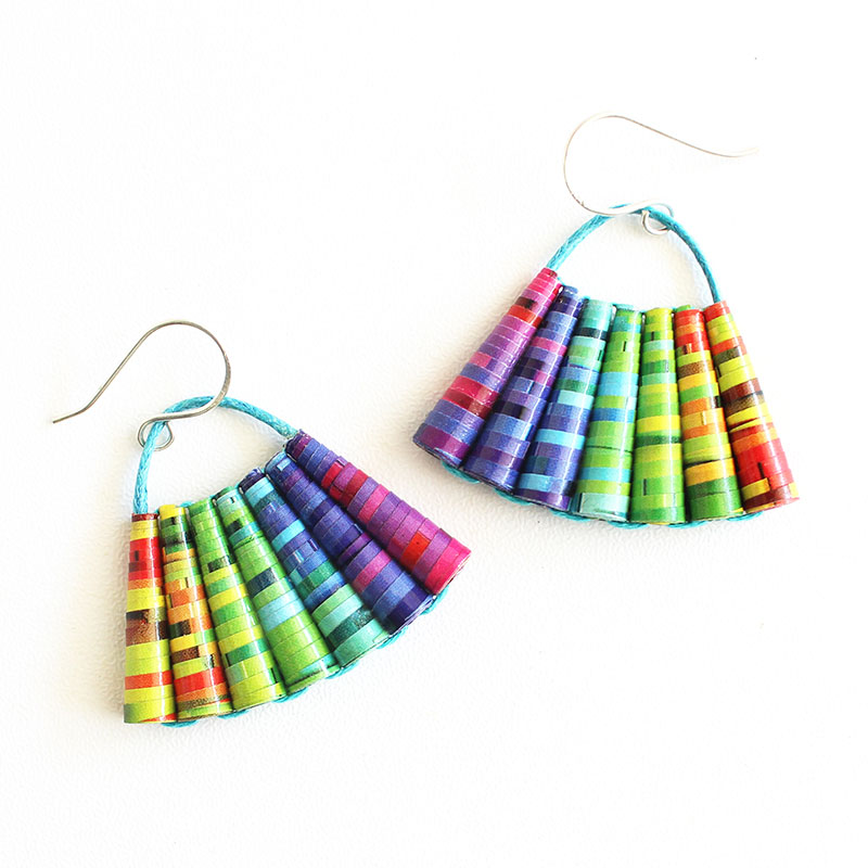 Rainbow earrings Cool Boho Colorful Beaded Summer Jewelry