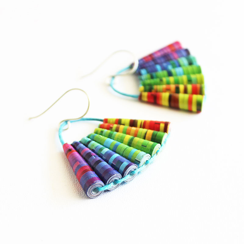 colorful rainbow dangle earrings