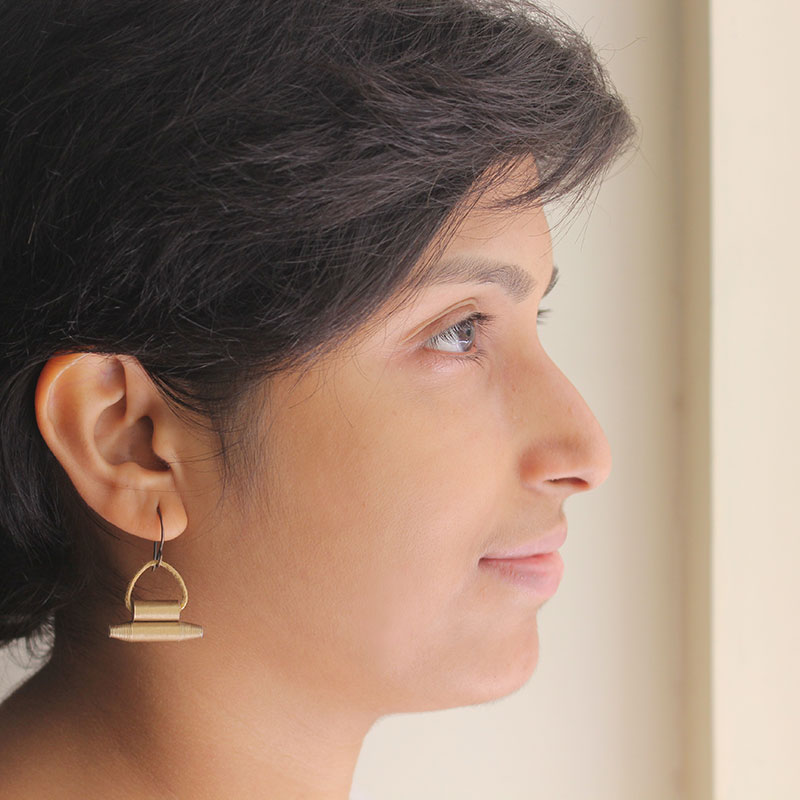 magical Indian amulet drop earrings in antique gold