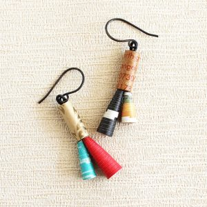 folk amalgam earrings made from recycled paper