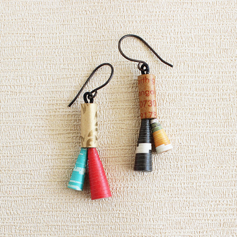 recycled earrings sustainable paper jewelry