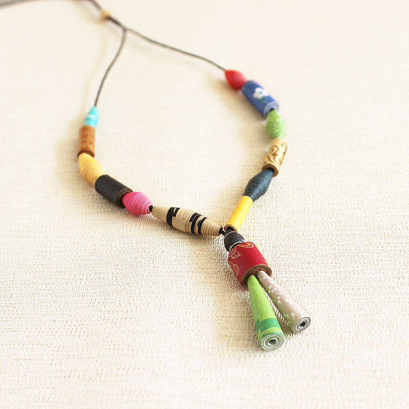 recycled fashion jewelry made of paper beads
