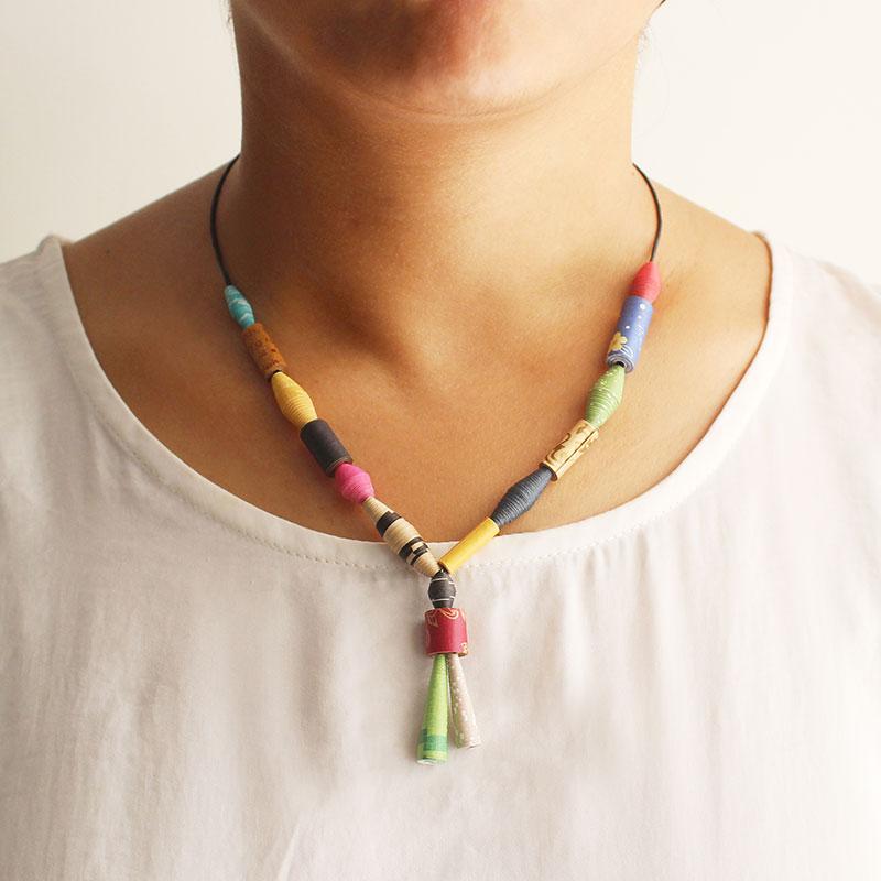 folk amalgam necklace recycled fashion eco-friendly jewelry