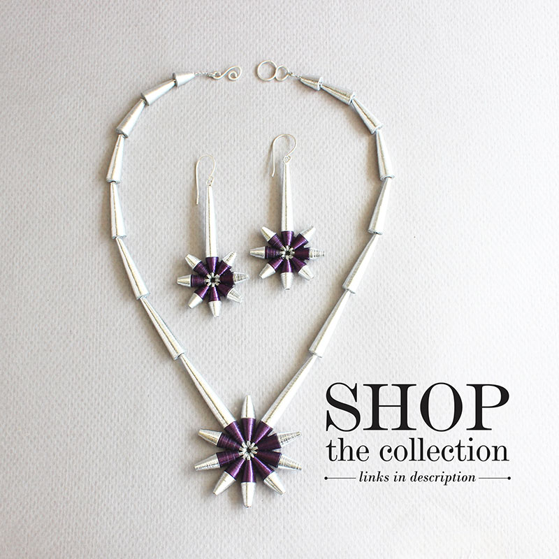 shooting star jewelry in purple and silver