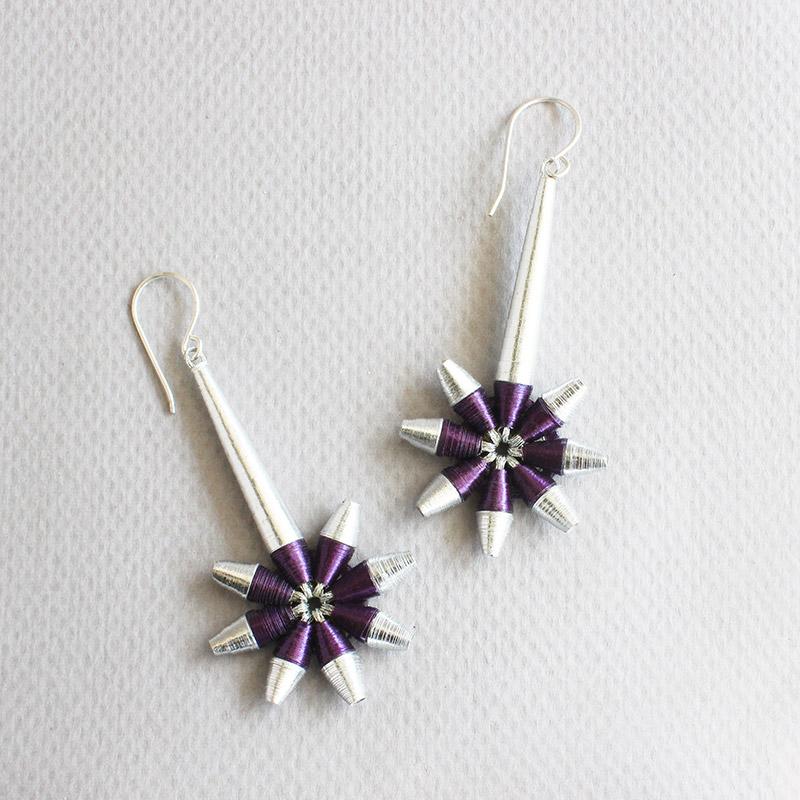 shooting star silver dangle drop earrings