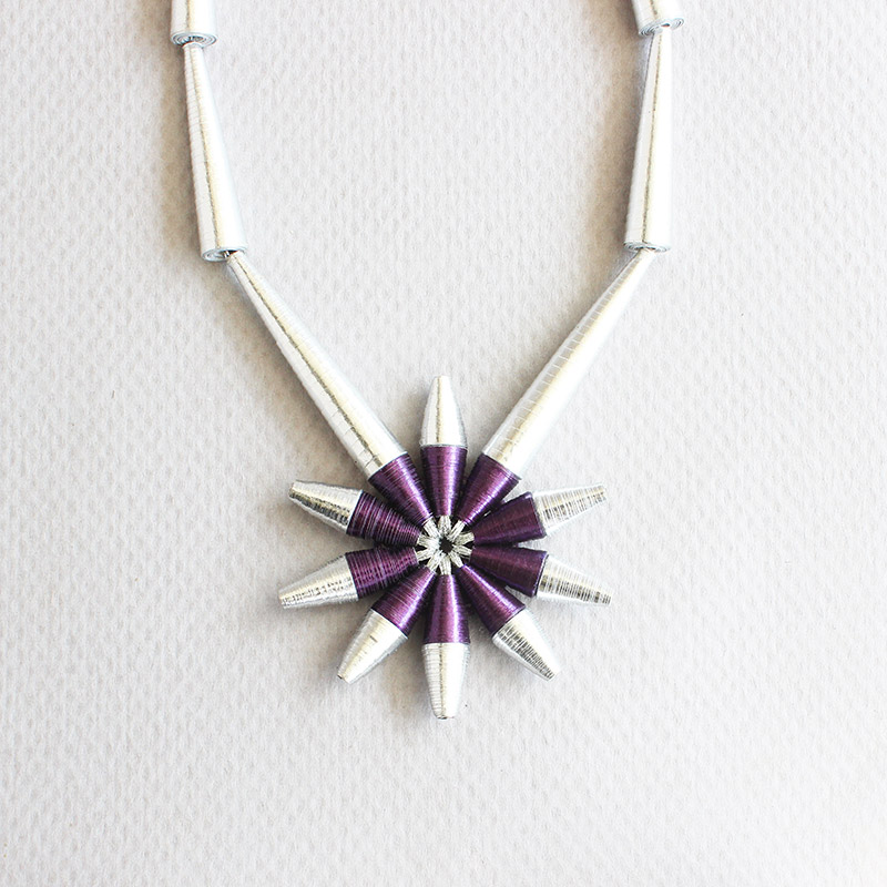 purple and silver statement star pendant necklace