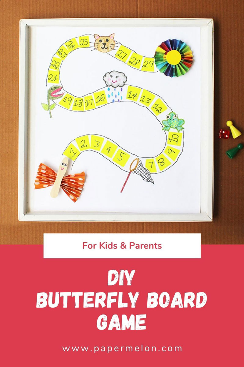DIY butterfly board game for kids and parents