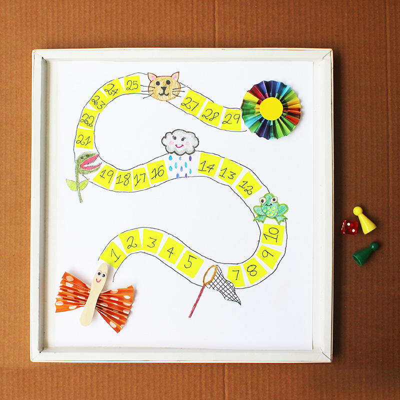 Kids Board Game DIY - Help The Butterfly Reach The Flower