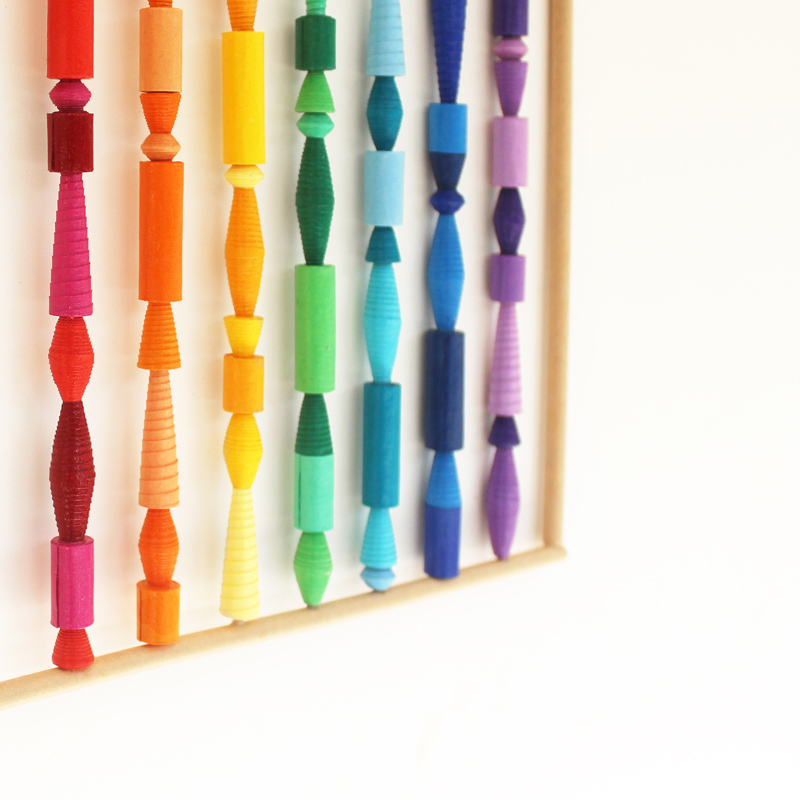rainbow wall decor from paper beads