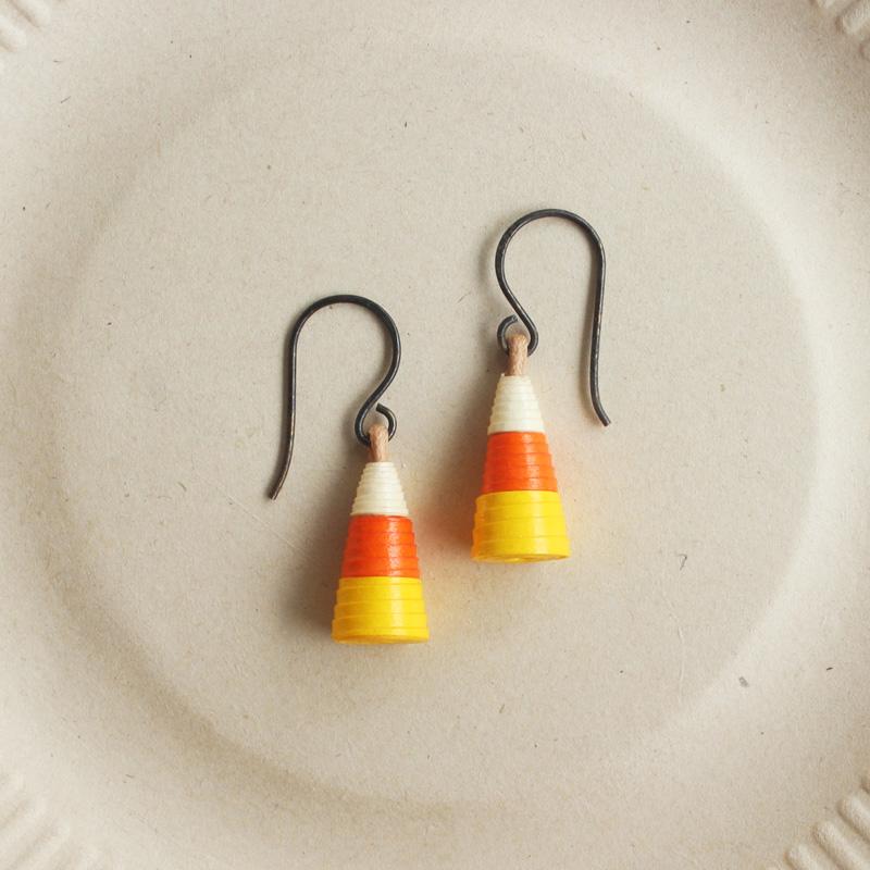 candy corn earrings cute halloween jewelry