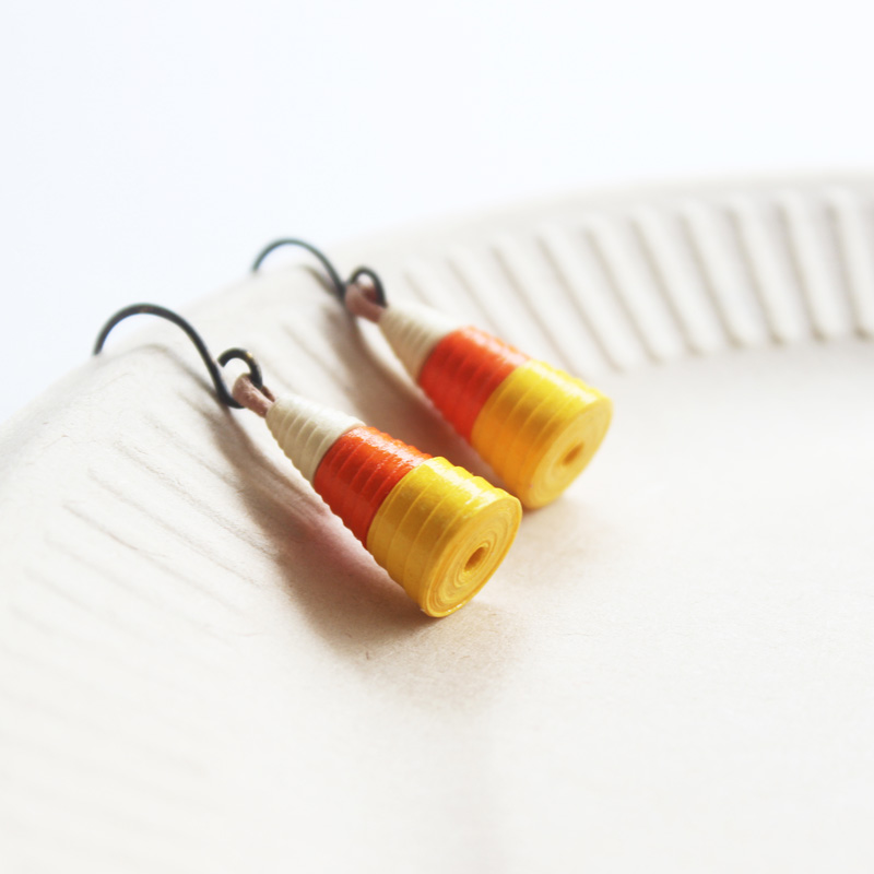 candy corn earrings orange yellow white