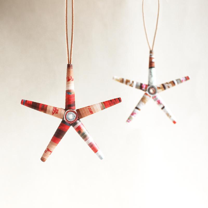festive red magazine star ornaments