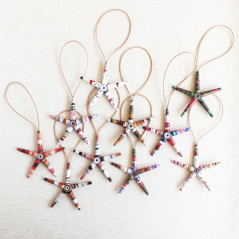 red and white eco-friendly magazine star ornaments