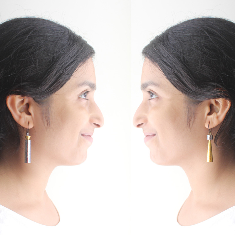 opposites attract mismatched earrings asymmetrical jewelry