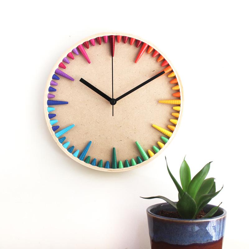 rainbow wall clock colorful home decor lgbtq housewarming gift