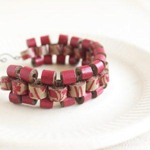 recycled paper bead bracelet