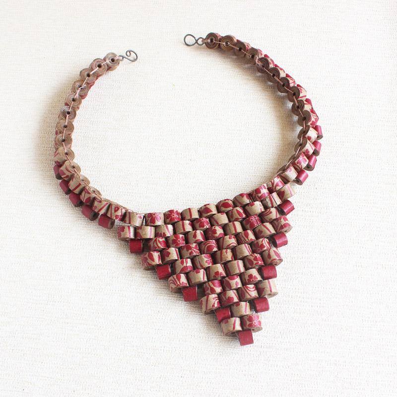 recycled statement bib necklace