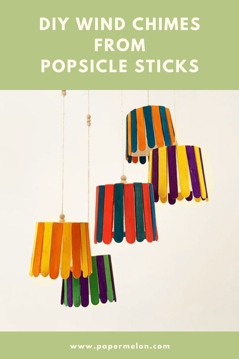 DIY wind chimes from upcycled popsicle sticks