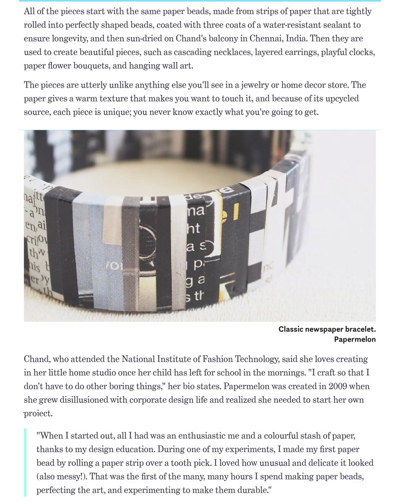 Papermelon jewelry featured on Treehugger