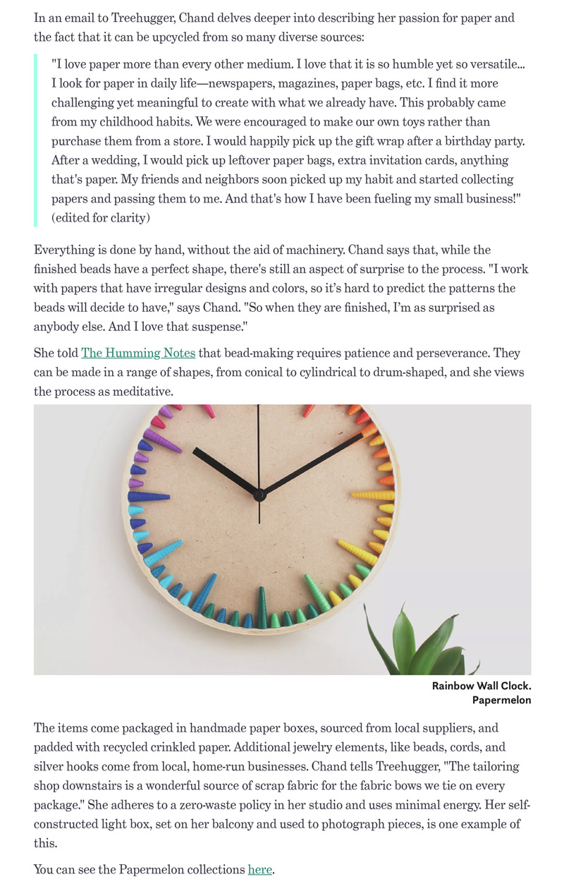 Papermelon decor featured on sustainability blog Treehugger