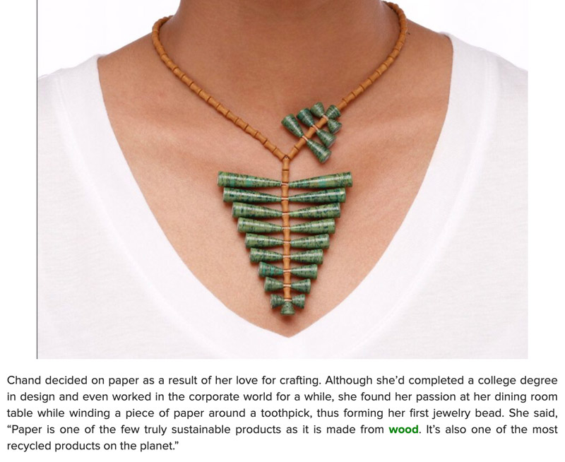 Green jewelry by Papermelon