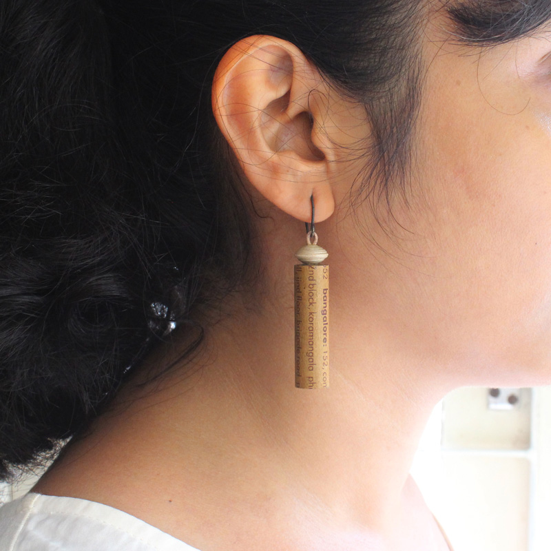 eco-friendly earrings made from paper