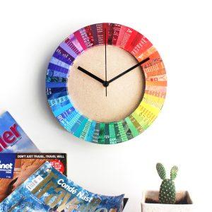 rainbow clock recycled magazine home decor